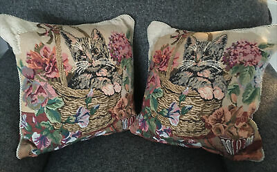 """£9.95 • Buy 2 X Lovely Vintage Tapestry Cat Cushion Covers 15""""x15"""" Square"""