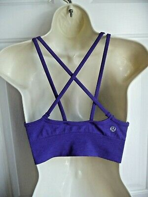 $ CDN23.68 • Buy Lululemon 4 Sport Bra Purple Solid Strappy Back Unlined Logo On The Back