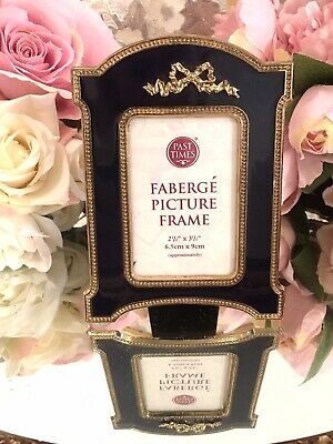 £50 • Buy PAST TIMES FABERGE Small PHOTO PICTURE FRAME Cobal Blue Gold Bow Lovely Rare