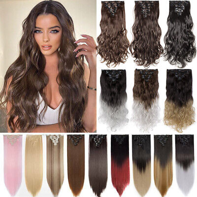 £11.19 • Buy UK Thick Hairpiece Clip In 8 Pieces Hair Extensions Braids 100% Natural As Human