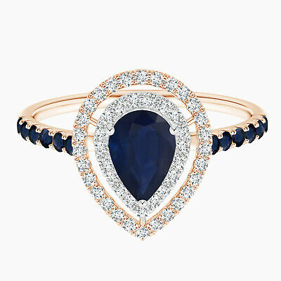 AU300.96 • Buy 0.75 Cts Blue Sapphire And Simulated Diamond Accents Ring In 9K Rose Gold