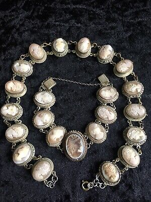 Vintage Antique Jewellery Silver 800 Carved Cameo Shell Bracelet Necklace Set • 265£