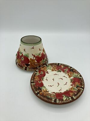 Yankee Candle Apple Tweed Small Shade Topper & Plate Set Fall Autumn Harvest • 12.96£
