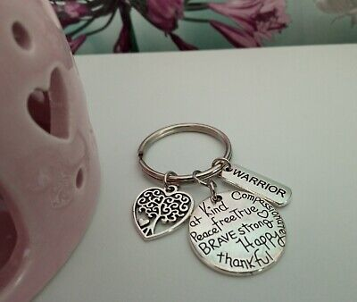 £2 • Buy Kind, Happy, Brave Strong Keyring With A Warrior/Tree Of Life Heart Charm - Gift