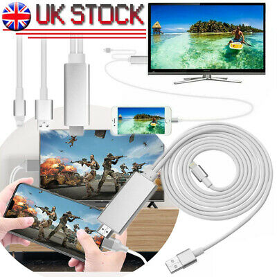 £6.39 • Buy  HDMI Adapter Cable USB 1080p HD TV Charging 3 Connector For IPhone Pad White UK