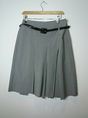 £3.49 • Buy MARKS AND SPENCER SIZE 14 Grey 26  Dogtooth BELTED SHORTS SKIRT CULLOTS SUMMER F