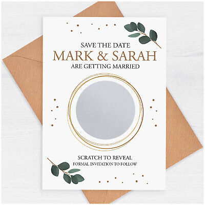 £0.99 • Buy PERSONALISED Eucalyptus Save The Date Scratch Card Rustic Wedding Invitations