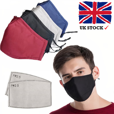 £2.99 • Buy Cotton Face Mask Washable Reusable Breathable With PM2.5 Filter (lot)