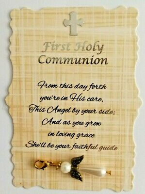 £3.25 • Buy Beautiful First Holy Communion (Neutral) Angel Charm With Verse, Keepsake, Gift