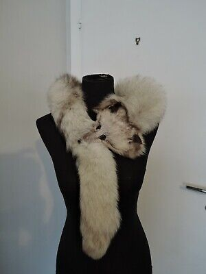 £35 • Buy Vintage White Real Blue Fox Fur Stole Stola Collar Scarf Shawl For Coat Jacket