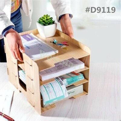 AU29.95 • Buy Office Desk Wooden A4 Size File Tidy Organiser Storage Container 4 Tier Tray