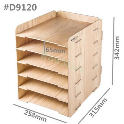AU35.95 • Buy Office Desk Wooden A4 Size File Tidy Organiser Storage Container 6 Tier Tray