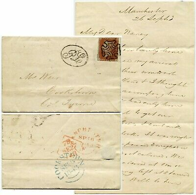 £125 • Buy 1843 LETTER To IRELAND COOKSTOWN FANCY PL POSTED LATE OVAL MANCHESTER TYPE 2 MX