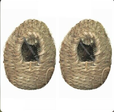 £7.25 • Buy 2 X Finch Nest Sisal Wicker Box With Hooks To Back For Exotic Finch Cage /Aviary
