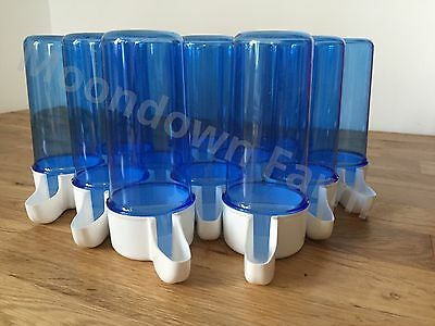 £11.99 • Buy 12 X Blue Drinker 200cc Bird Cage Front Anti Algae Finches Canary Budgies Etc