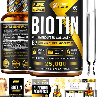 $25.04 • Buy Biotin & Collagen 25,000mcg Hair Growth Liquid Drops, Supports Strong Nails, ...