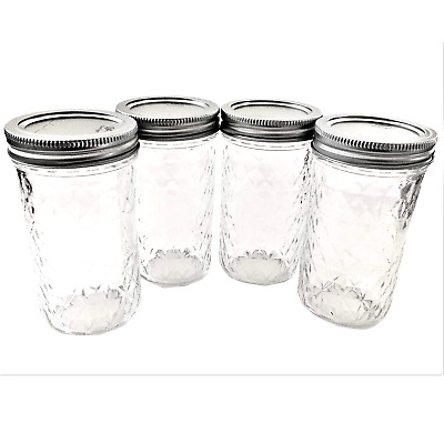 $14.78 • Buy Mason Ball Jelly Jars-12 Oz. Each - Quilted Crystal Style-Set Of 4
