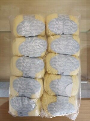 £32 • Buy 10 Balls Of Debbie Bliss Eco Baby Cotton Yellow Yarn Shade 14037 (whole Pack)