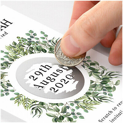 £19.90 • Buy PERSONALISED Eucalyptus Save The Date Scratch Card Botanical Greenery Invitation