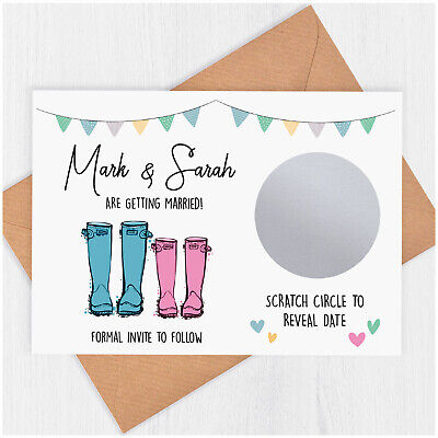 £39.80 • Buy PERSONALISED Vintage Wedding Save The Date Scratch Card Invitation Welly Boots