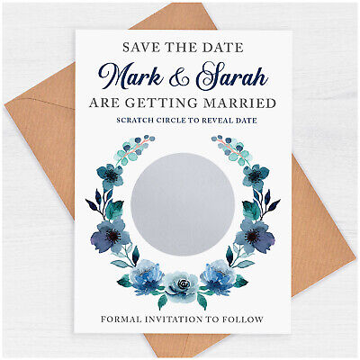 £29.85 • Buy PERSONALISED Blue Floral Wedding Save The Date Scratch Cards And Envelopes 50