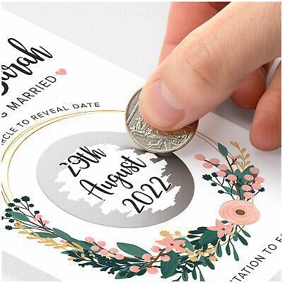 £69.65 • Buy PERSONALISED Save The Date Cards 50 Wedding Date Reveal Scratch Cards Envelopes