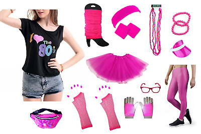 AU10.99 • Buy Ladies 80s Costume Pink Tutu Leg Warmers Necklace Fishnet Glove 1980s Cosplay