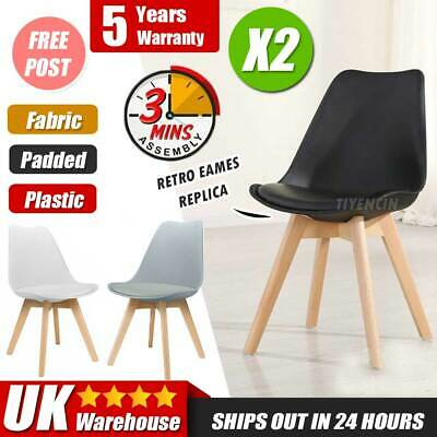 £59.41 • Buy 2PCS Tulip Dining Chair Eiffel Chairs Solid Wood ABS Plastic Padded Office Seat