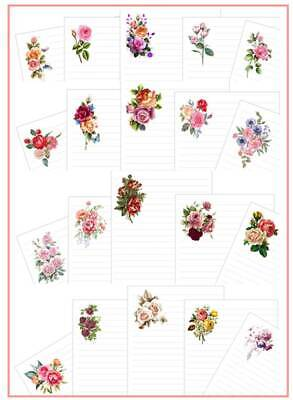 £3.50 • Buy Assorted Roses Lined  Letter Writing Paper Sets / 20 Sheets In Each Pack