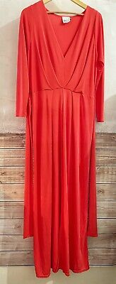 AU31.50 • Buy ASOS CURVE | Orange Red Rust Long Sleeve Maxi Dress With Waist Tie | Size 18