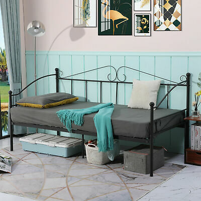 £54.99 • Buy Single Metal Day Bed Guest Bed Sofa Daybed Bedframe Sustainable 3FT Single Bed