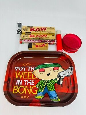 £13.99 • Buy Smoking Rolling Tray Gift Set- Stuey Bong! Raw Cyclone Grinder Clipper!