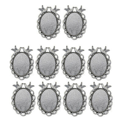 10 Pendant Trays Cabochons, Oval Blank Base Setting Bezel Frame Metal Cameo For • 3.73£