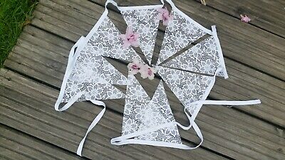 £6 • Buy 3m White Lace Bunting Vinyl Waterproof Lovely For A Wedding Garden Party