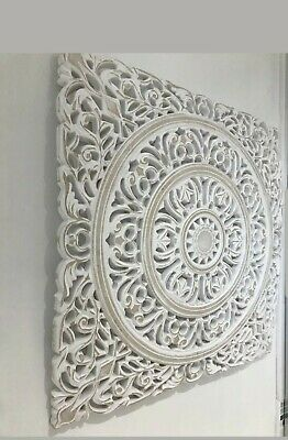 £28.50 • Buy WHITE MORROCAN STYLE CARVED WOOD HANGING PANEL WALL ART HOME DECOR 56 X 56cms..