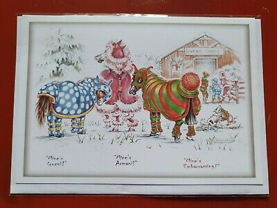 £2.99 • Buy Horse Christmas Card Funny Card Horses BLANK Greetings Card New Rugs Pony Ponies