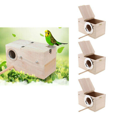 3pcs Wooden Budgie Nest Nesting Box & Perch For Cage Aviary W/ Opening Top S • 25.21£