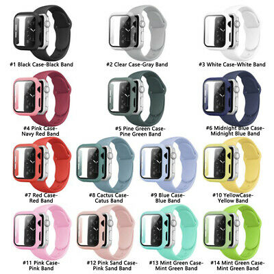 AU9.49 • Buy 3 In 1 Silicone Watch Case Band Screen Protector For Apple IWatch Series 6 5 4 3