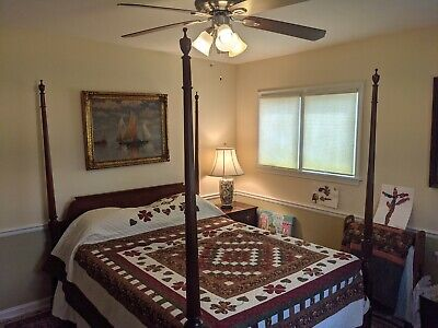 $1054 • Buy Baker Furniture Carved Chippendale Mahogany Four Poster Queen Size Bed