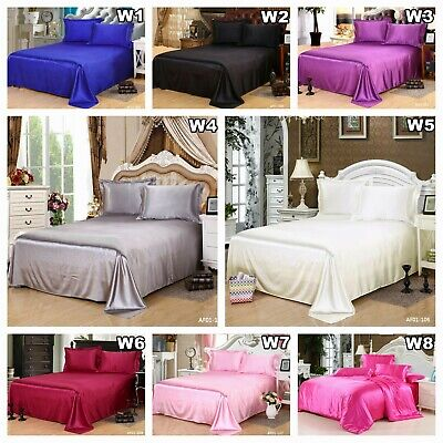 AU62.99 • Buy Solid Pure Silk Satin Fitted Sheet Flat Sheet Set Queen/King Size Bed Pillowcase