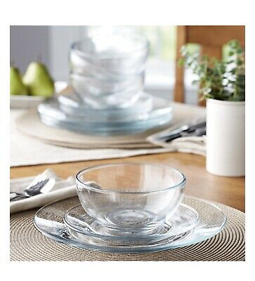 $43.99 • Buy 12-Piece Round Clear Glass Dinnerware Dining Set, Dinner Meal Glassware, NEW