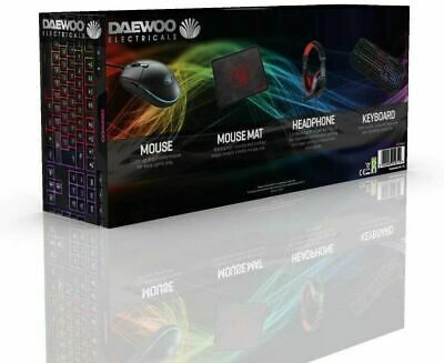 Daewoo 4 In 1 Wired LED Gaming Keyboard Mouse Headset & Mat Bundle PC Computer  • 25.25£