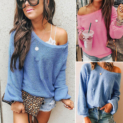 £18.39 • Buy Women Off The Shoulder Thermal Knitted Blouse Jumper Long Sleeve Pullover Tops