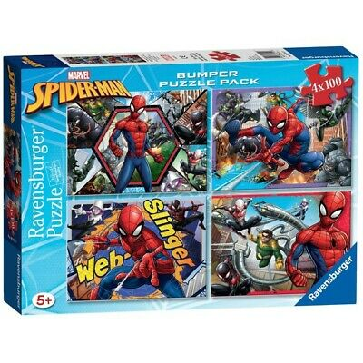 £10.99 • Buy Marvel Spiderman Bumper Puzzle Pack 4 X 100 Ravensburger Quality Ages 5+