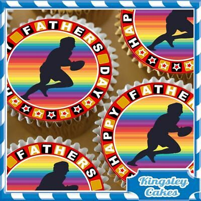 £4.59 • Buy Fathers Day Rugby Player Edible Cupcake Toppers Decorations Cake Fd045