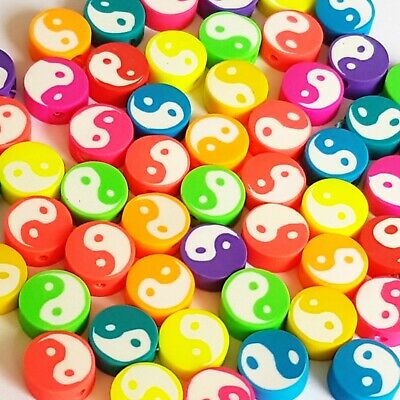 £3.39 • Buy Polymer Clay Yin Yang Beads Spacer Neon Mix Color DIY Jewelry Making 20pcs 10mm