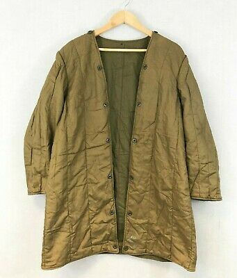 £34.95 • Buy 1970s Czech Military Liner Cotton Quilted Parka Jacket Olive Green Brown M L XL
