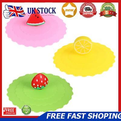 £4.31 • Buy Cartoon Fruit Dustproof Reusable Silicone Cup Cover Coffee Suction Seal Lid