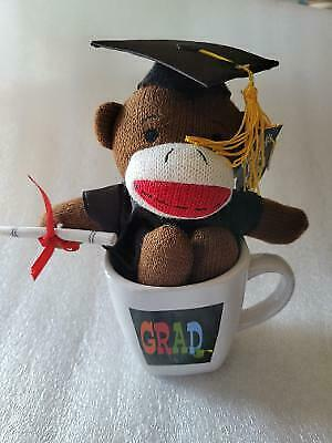 $ CDN19.34 • Buy Graduation Class 11  Sock Monkey Plush Stuffed Animal With Coffee Cup L@@K