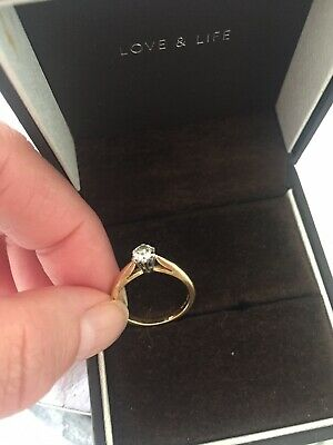 £225 • Buy 18ct Gold Diamond Solitaire Ring Size J Full Markings 750